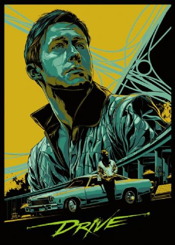 2010's Movie - DRIVE ALTERNATIVE POSTER - YELLOW canvas print - self adhesive poster - photo print